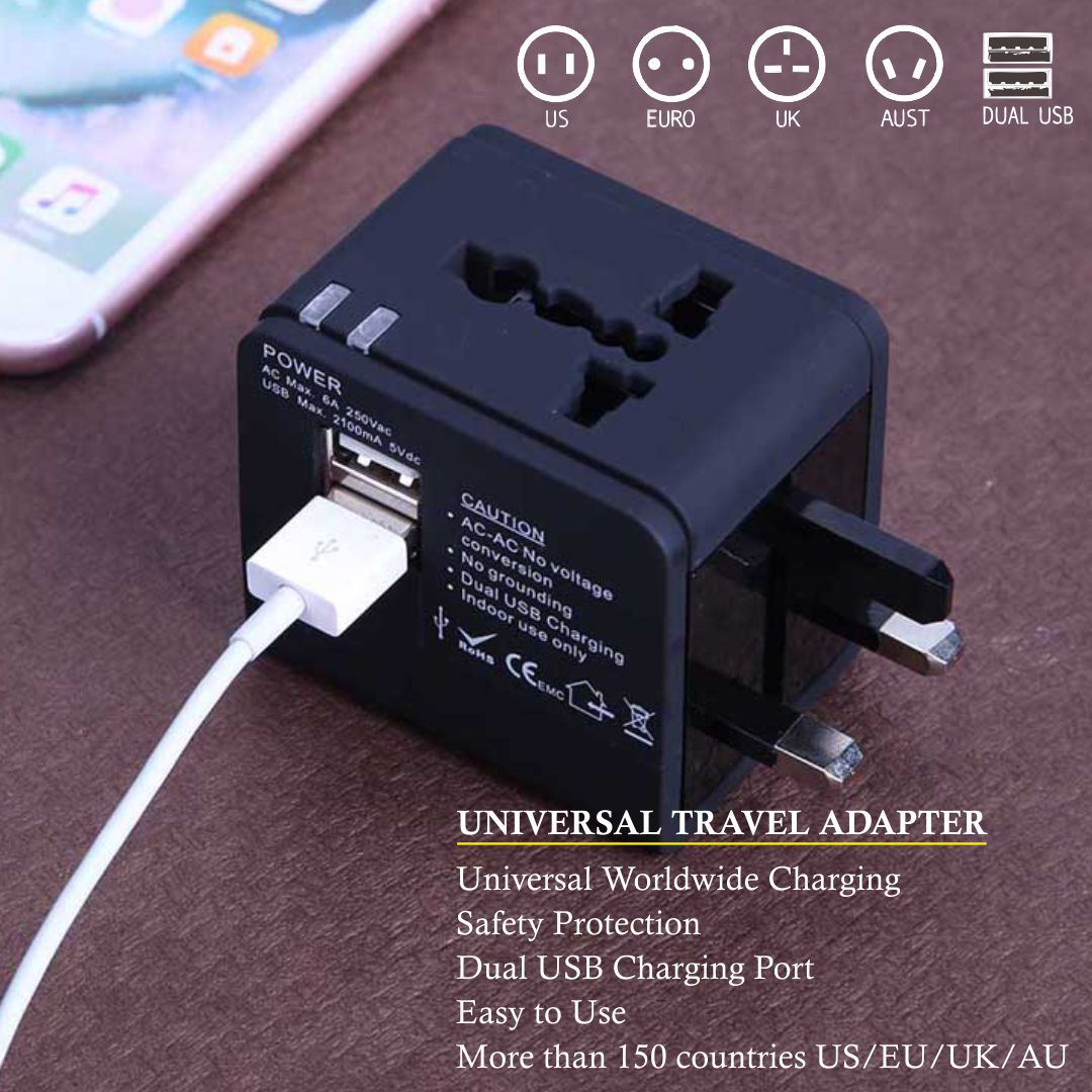 Universal Adapter Worldwide Travel Adapter with Built in Dual USB