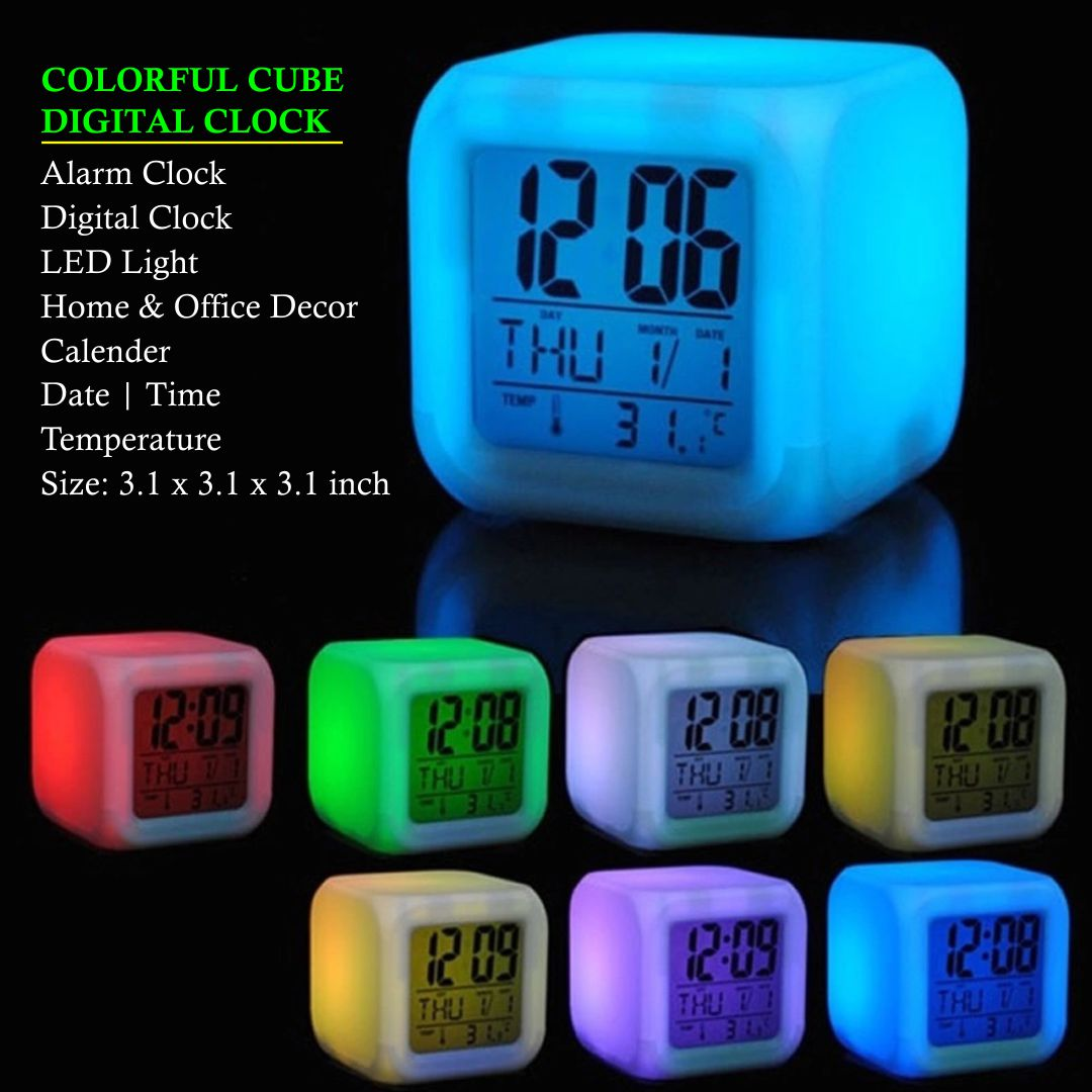 Colourful Cube Digital Clock Alarm Clock 7 LED Color Digital Display