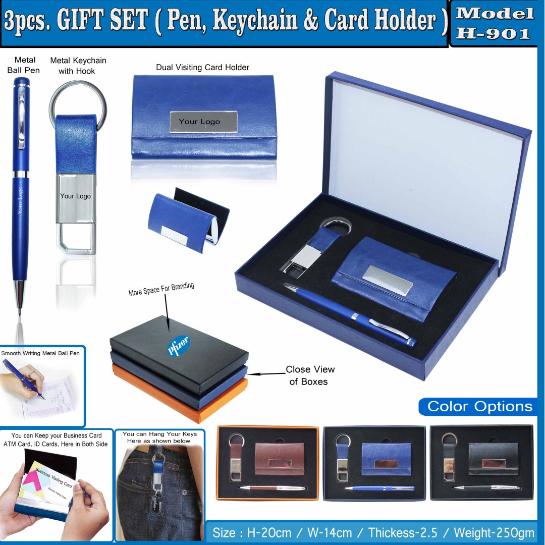3 in 1 Gift Set - Ball Pen, Keychain and Card Holder 901