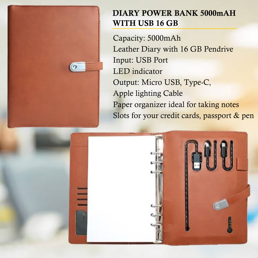 Diary Power Bank 5000mAH with 16 GB USB Pendrive
