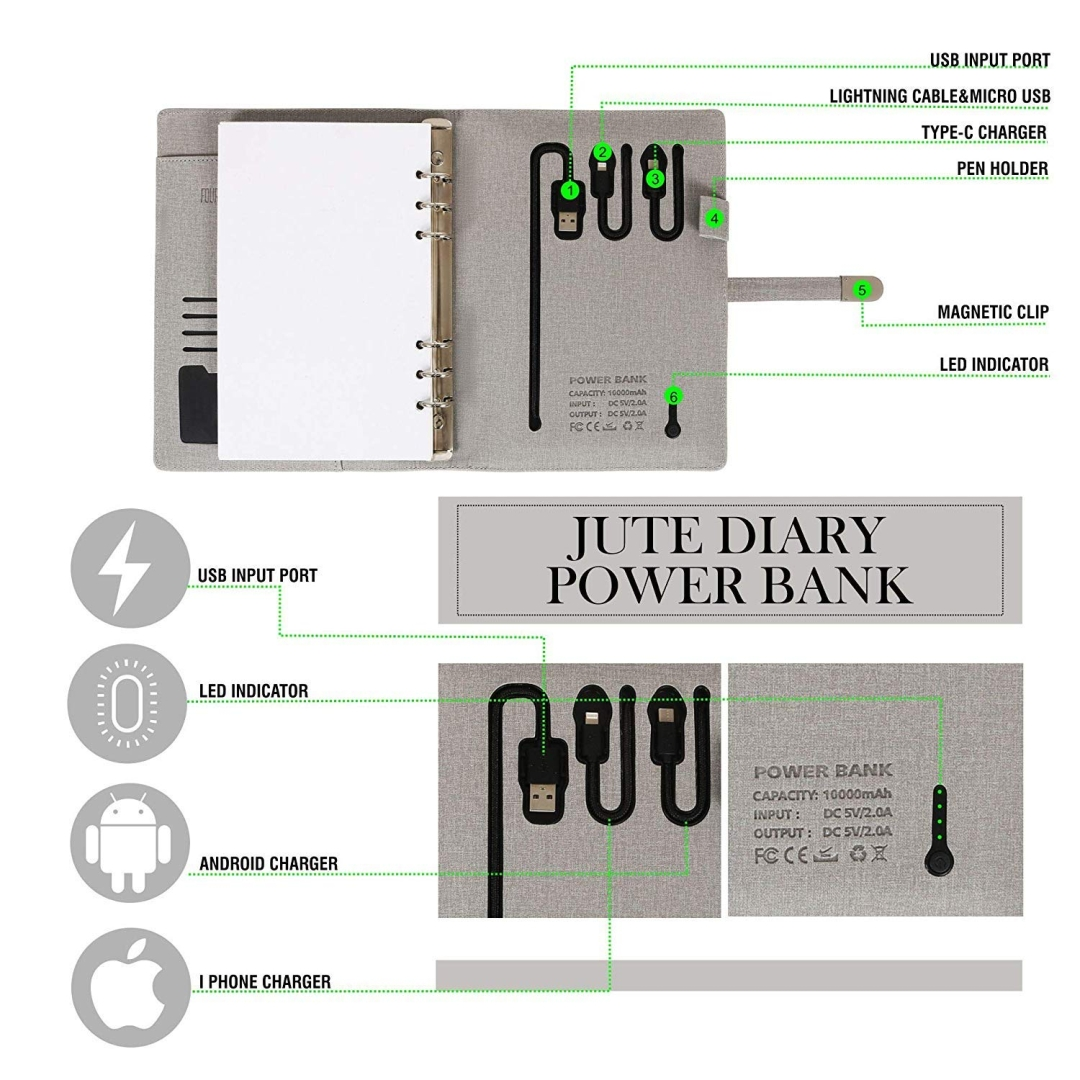 Jute Diary Power Bank 10000mAH with 16 GB USB Pendrive
