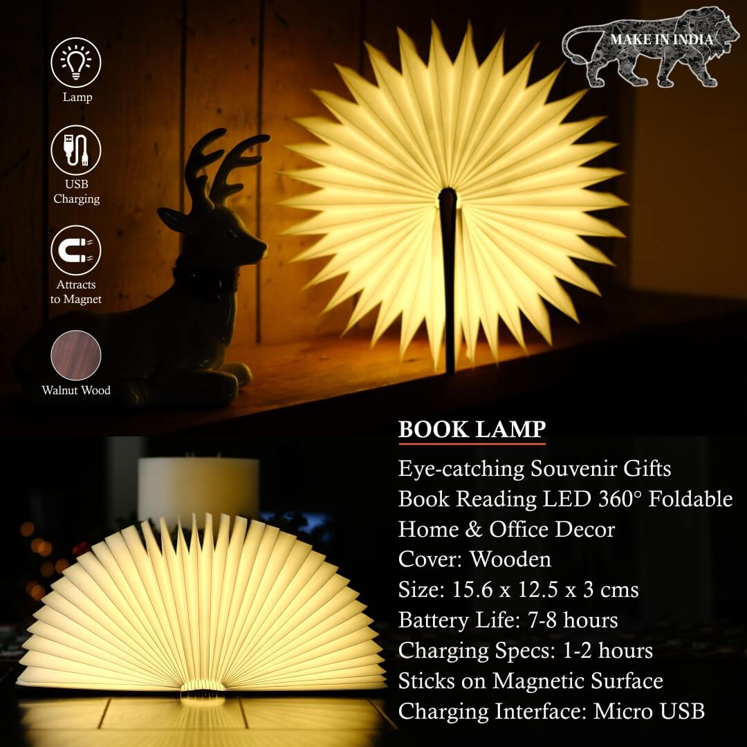 Book Shaped Lamp Wood Cover