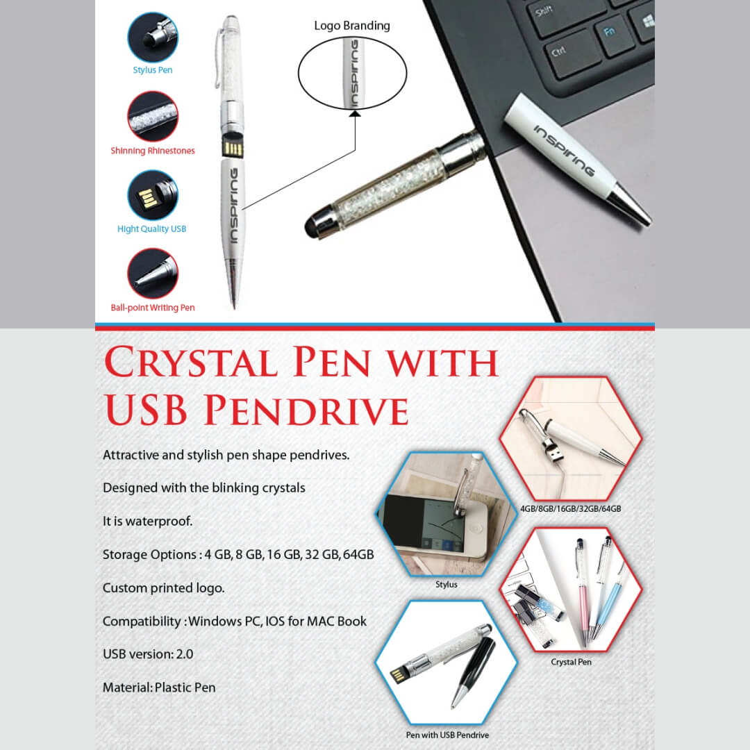 Crystal Pen with USB Pendrive
