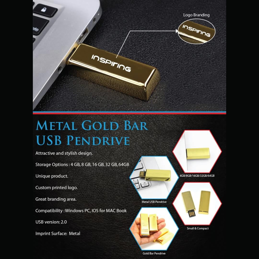 Gold Bar Metal USB Pendrive