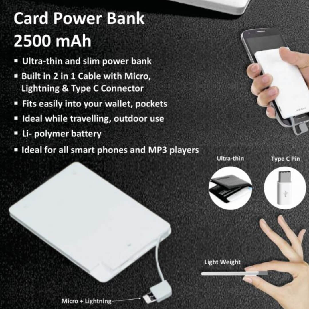 Credit Card Shape Power Bank 2500mAH