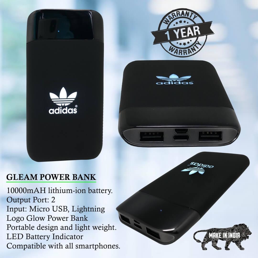 Gleam Portable 10000mAH Power Bank