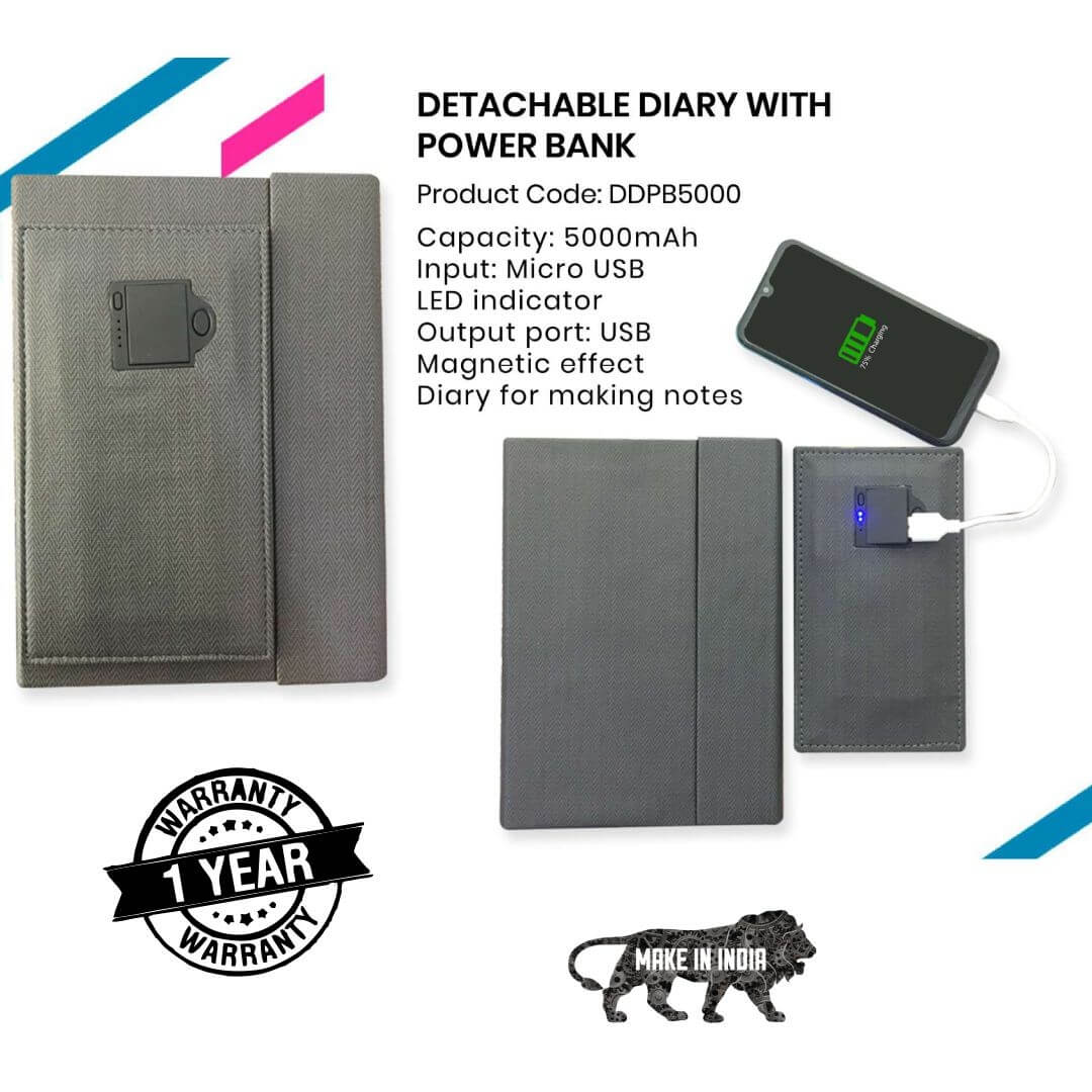 Detachable Diary with Power Bank 5000mAH