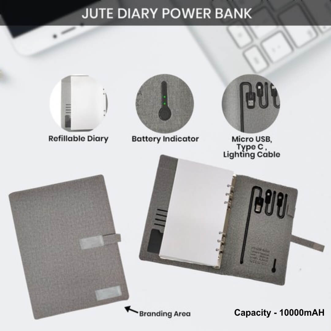 Jute Power Bank Diary 10000mAH