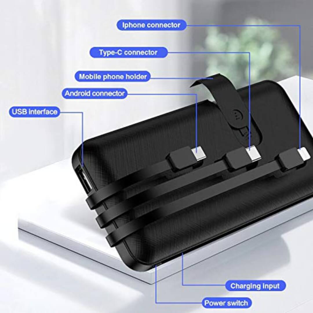 3 in 1 Built in Cable 10000mAh Power Bank with Mobile Stand