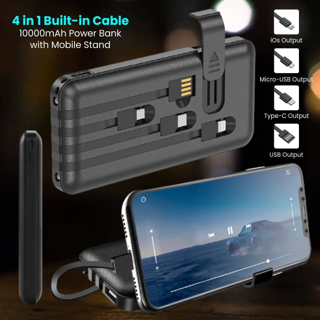 4 in 1 Built in Cable 10000mAh Power Bank with Mobile Stand