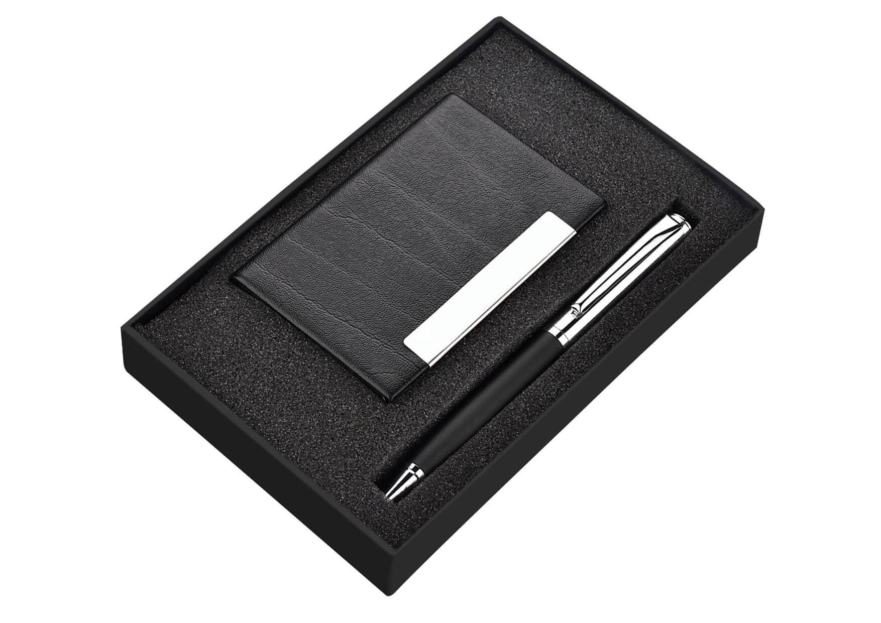 Card Holder and Pen Set 2 in 1 Plata