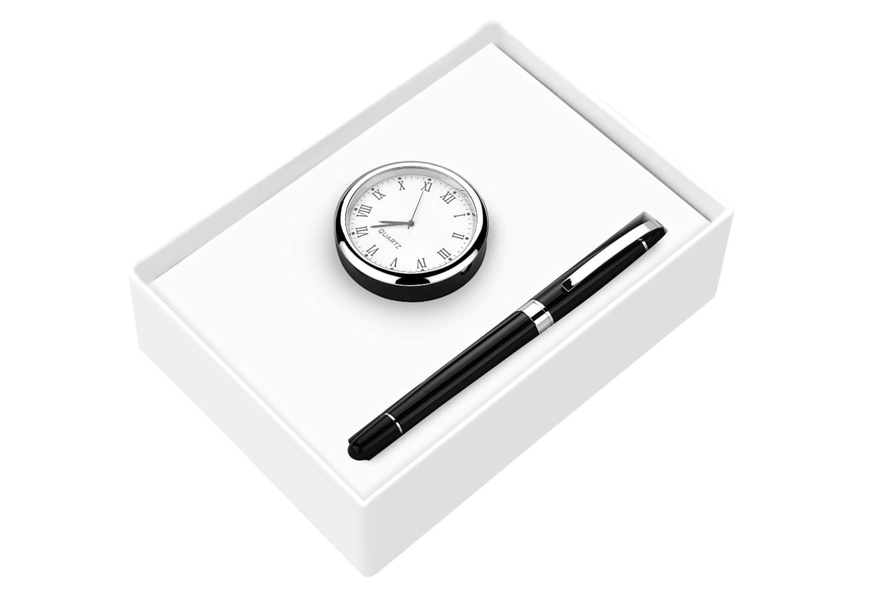 Clock and Premium Roller Pen Set 2 in 1 Leva
