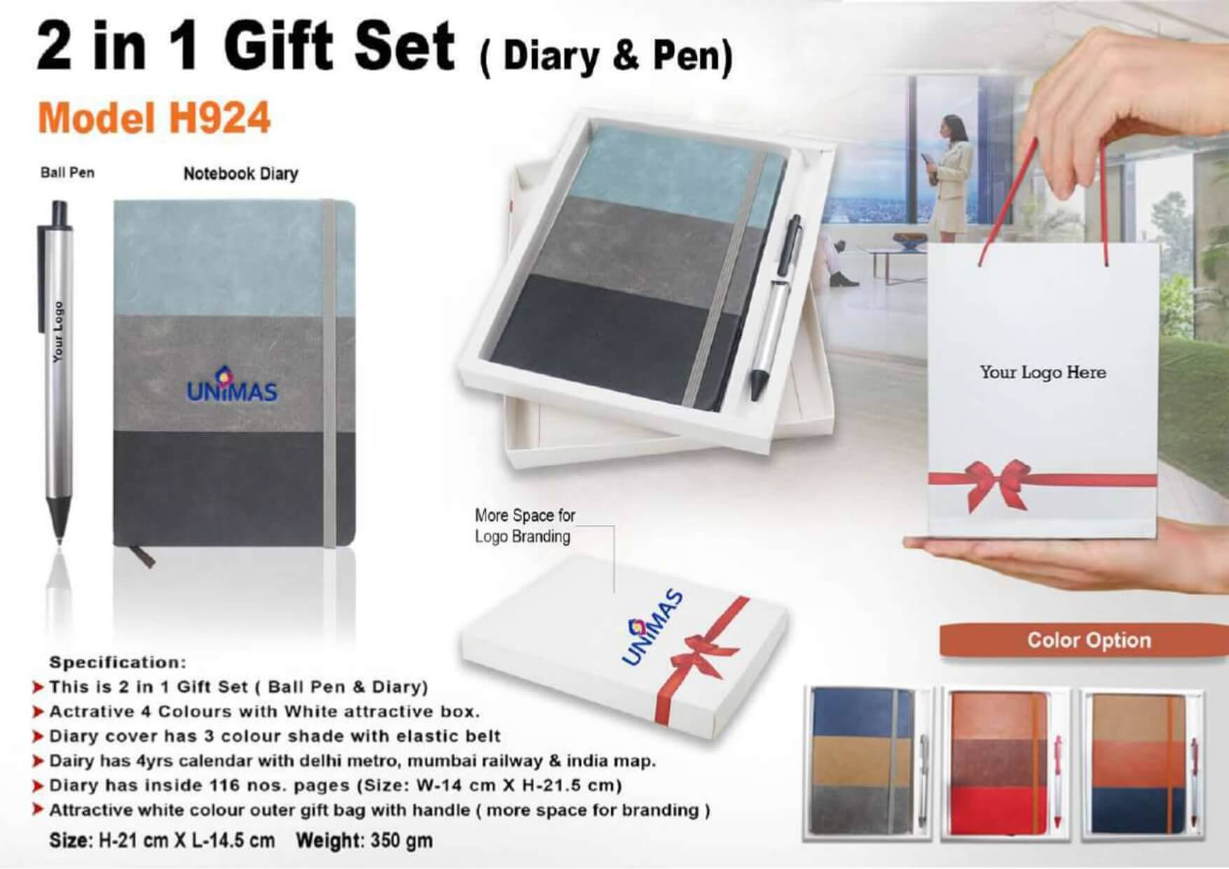 Diary and Pen 2 in 1 Gift Set 924