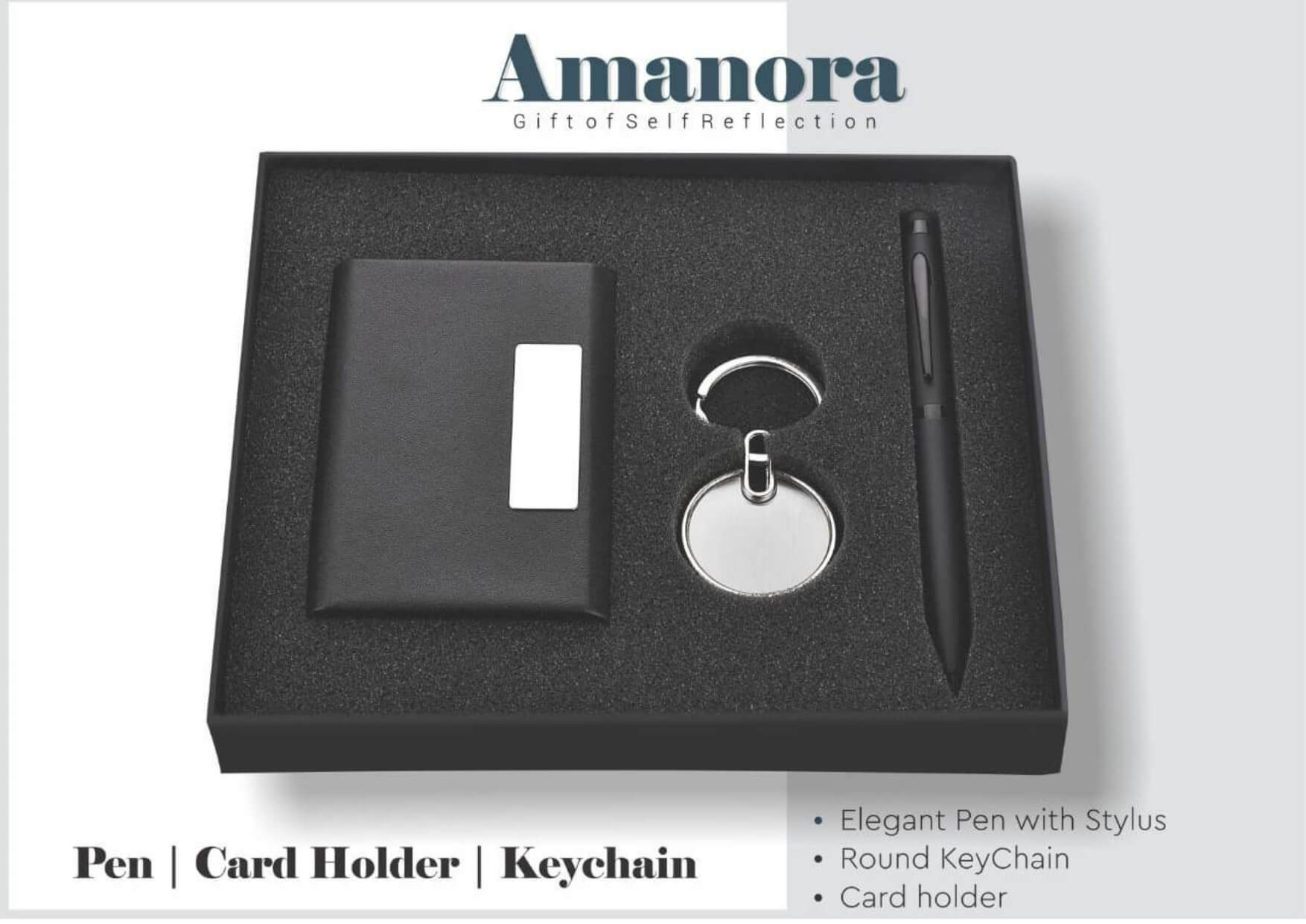 Card Holder, Pen And Keychain Set Amanora