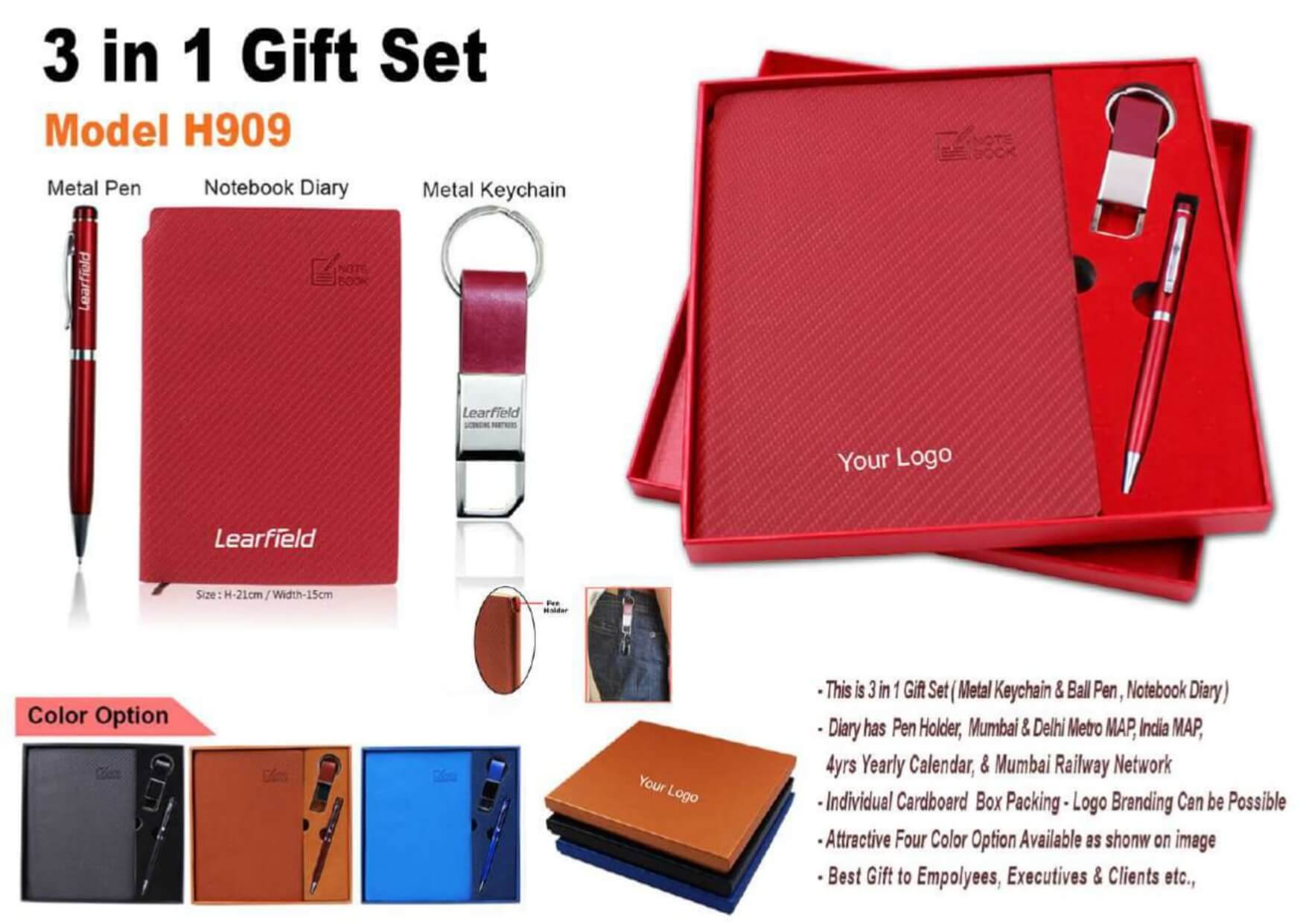 Diary, Pen and Keychain 3 in 1 Gift Set - 909