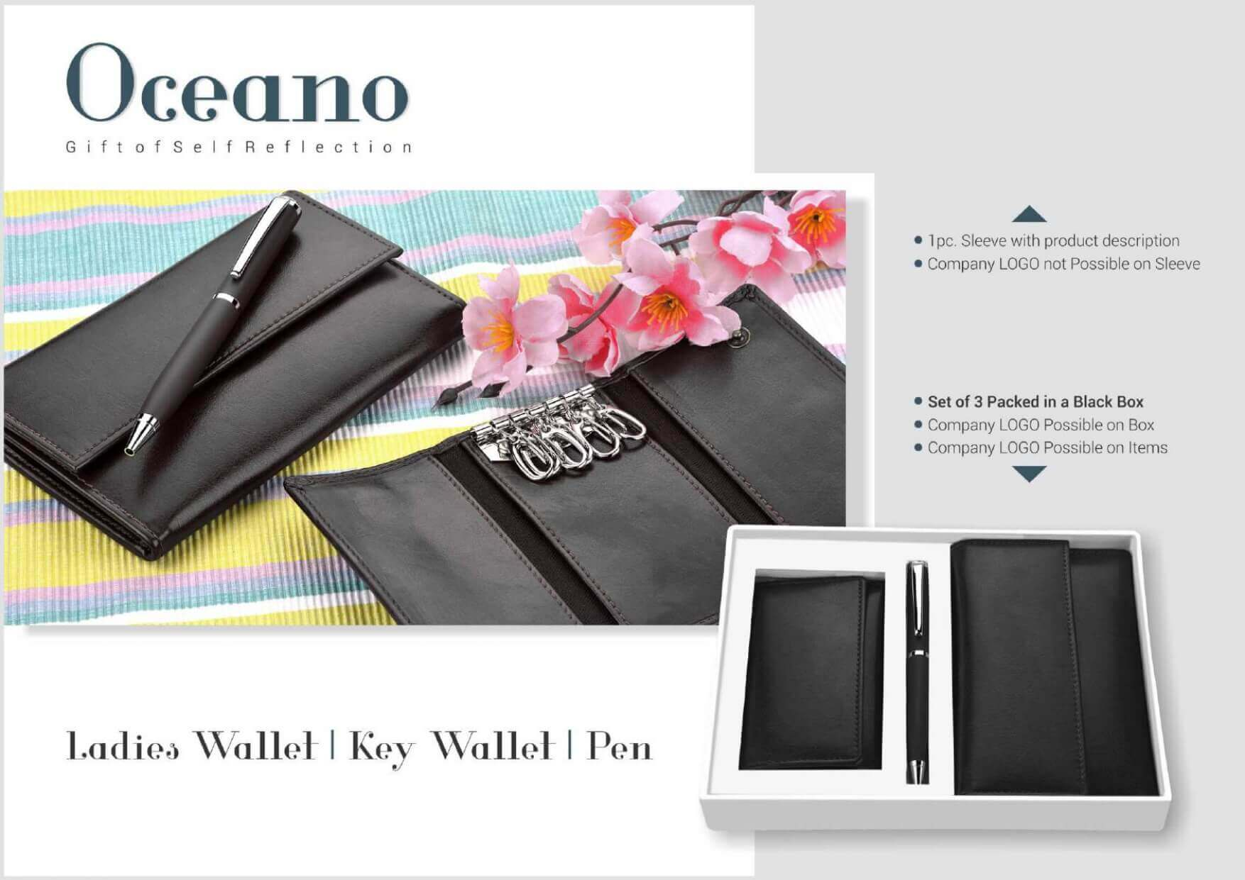 Ladies Wallet Key Holder & Pen Set (3 in 1) Oceano