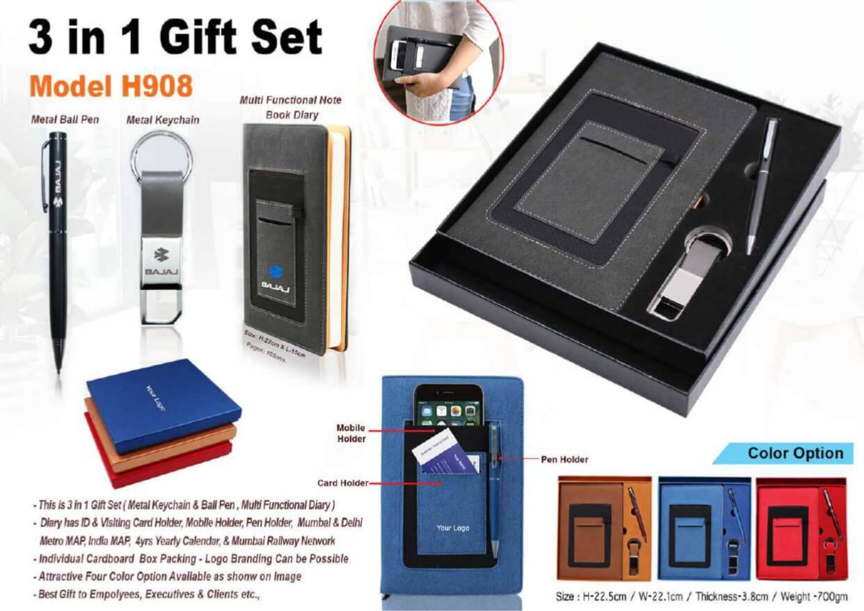 Pen, Keychain and Diary 3 in 1 Gift Set - 908