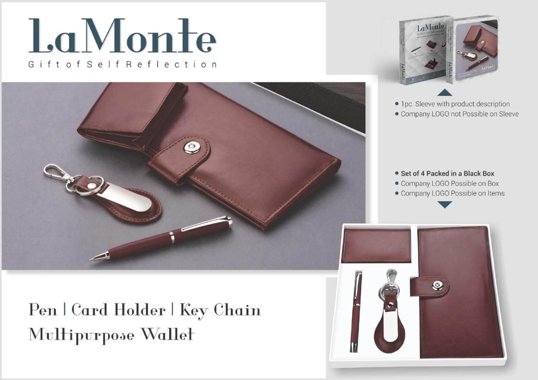 Multipurpose Wallet, Pen, Card Holder and Keychain Set Lamonte