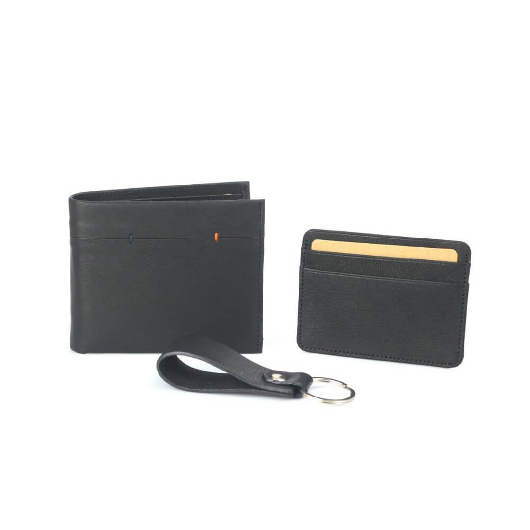 Wallet Card Holder Keychain Black